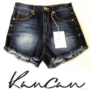 Kancan Dark Wash High Waist Frayed Shorts NWT